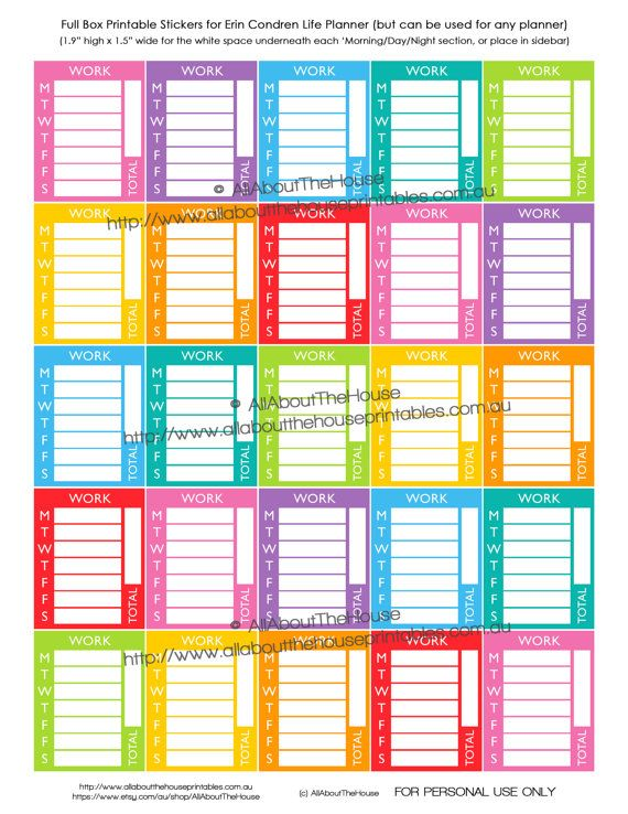 Calendar Planner Stickers : Work stickers sidebar weekly daily tracking planner