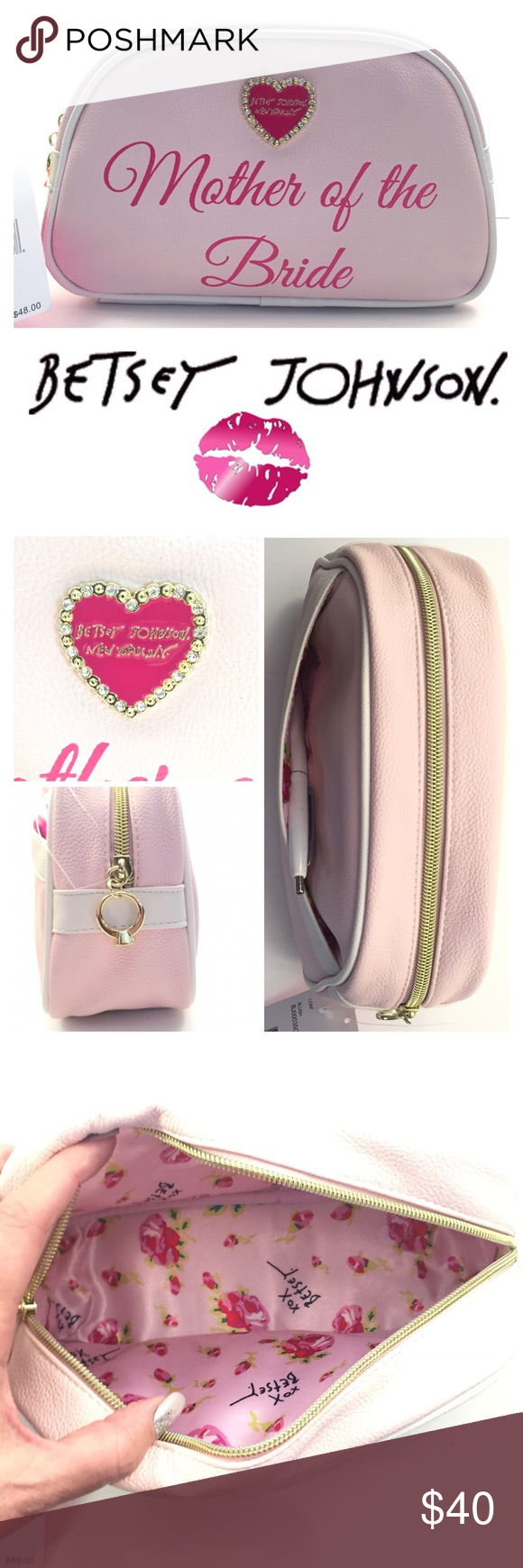 """MOTHER OF THE BRIDE COSMETIC BAG Something to remember her special day💕  -Faux leather makeup bag adorned with  -3D heart logo plaque rhinestone embellished -Rhinestone ring charm -Fully lined with signature BJ motif  -Exterior slip-in pocket -Zip closure -9""""Length x 5.5"""" Height x 3"""" Width  🛍 2+ BUNDLE=SAVE  ‼️NO TRADES--NO HOLDS  💯 Brand Authentic  ✈️ Ship Same Day--Purchase By 2PM PST  🖲 USE BLUE OFFER BUTTON TO NEGOTIATE   ✔️ Ask Questions Not Answered In Description--Want You Yo Be…"""