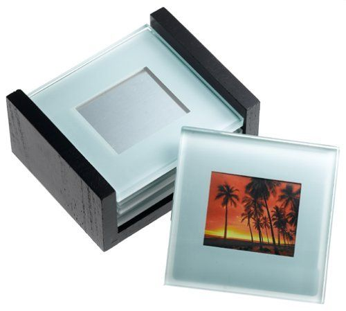 Global Decor Photo Frame Glass Coasters in Wood Stand, Set of 4 by ...