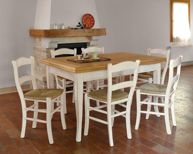 Tavolo In Legno Con 6 Sedie.Tavolo Allungabile In Legno Con 6 Sedie Shabby Chic Bicolore Bianco