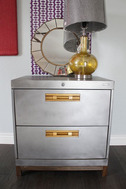 Superb An Old Wide Metal 2 Drawer Office File Cabinet Is Given A New Life As A  Console Piece With A Coat Of Silver Metallic Paint And Some Funky Pulls