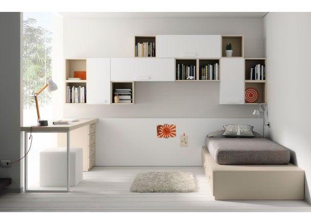 Dormitorio juvenil con cama tatami con cajones escritorio for Cama tatami
