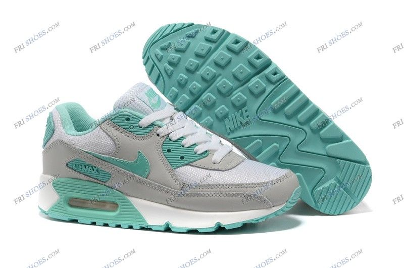 Nike Air Max 90 hyperfuse WhiteGrayGreen Womens walking