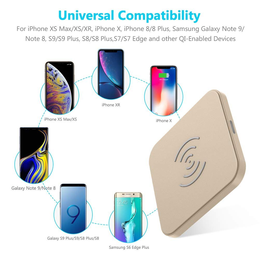 Wireless Charger Ultra-Slim Compatible iPhone Xs Max iPhone X iPhone Xs iPhone Xr iPhone 8 8 Plus and Galaxy S9 S8 S8+ /& Galaxy S7 Edge /& Note 9 8 Qi-Certified Station