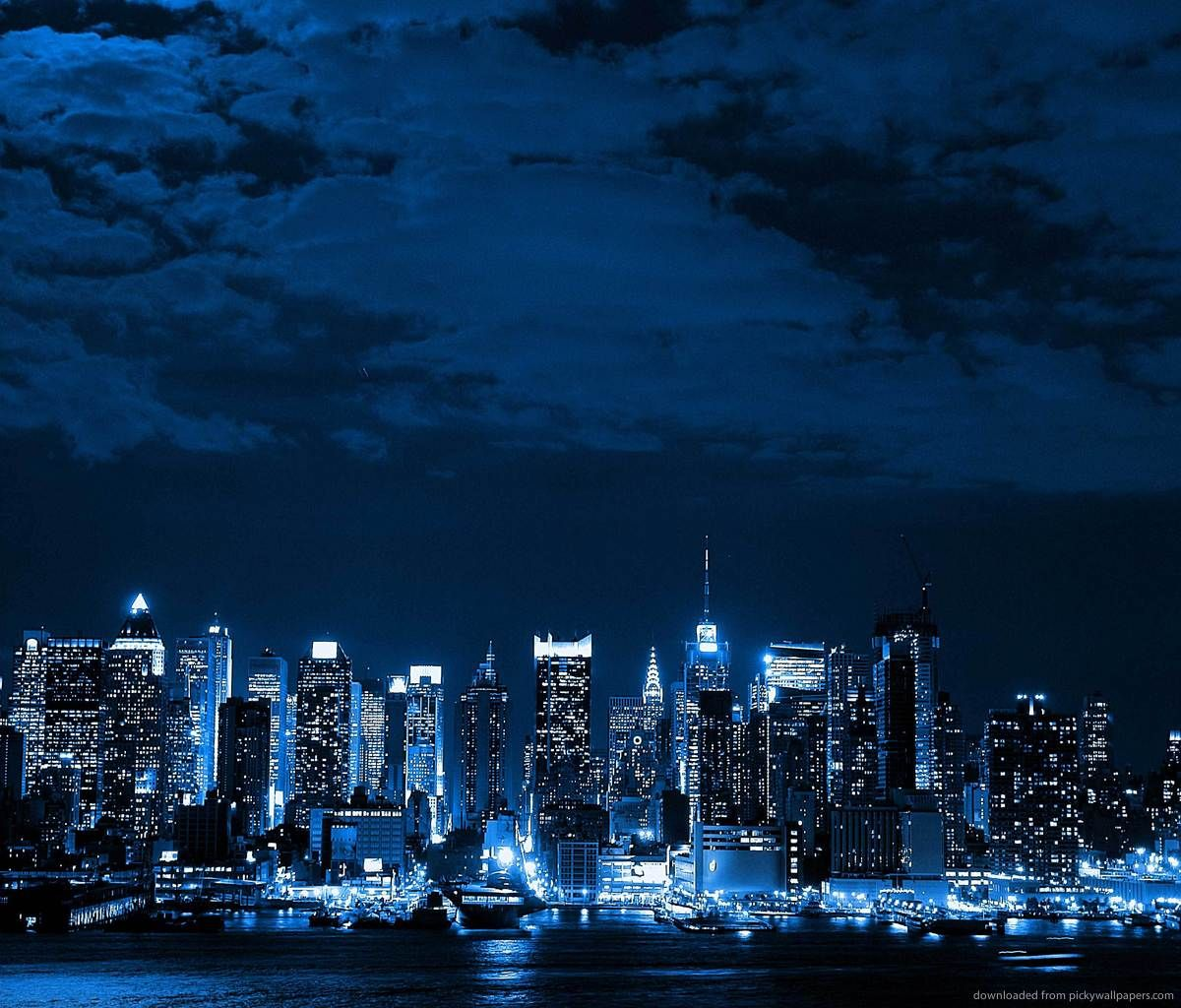 Blue Neon Cityscape Wallpaper With Images City Wallpaper