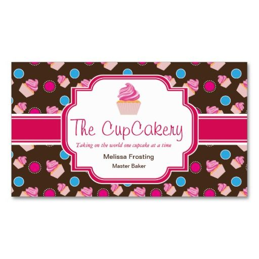 Brown and pink cute cupcake bakery business cards for Cupcake business card
