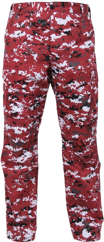Red Digital Camouflage Military Cargo BDU Fatigue Pants  6385ee54e24