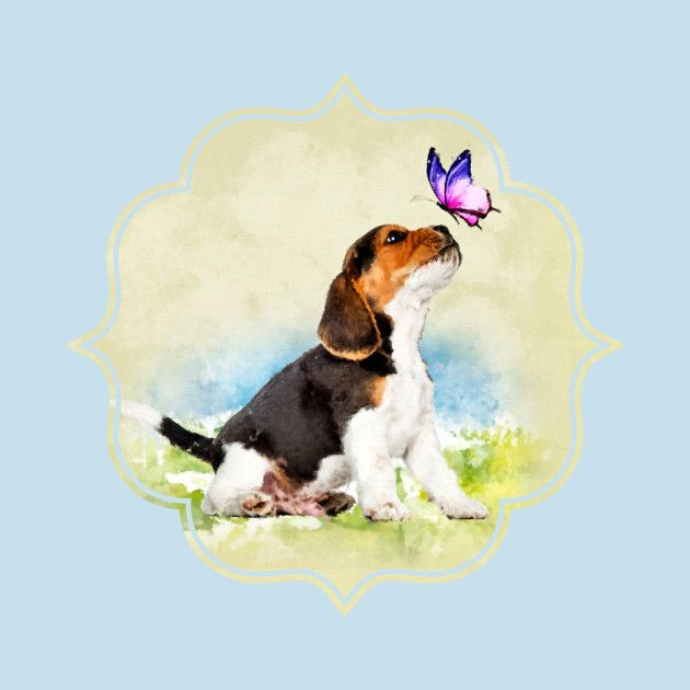 Check Out This Awesome Beagle Puppy With Butterfly Design Neat