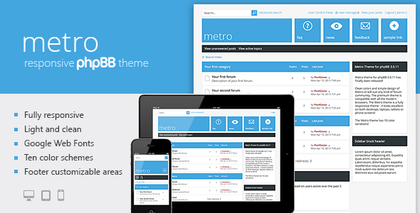Metro A Responsive Theme For Phpbb3 Phpbb Forums Graphic