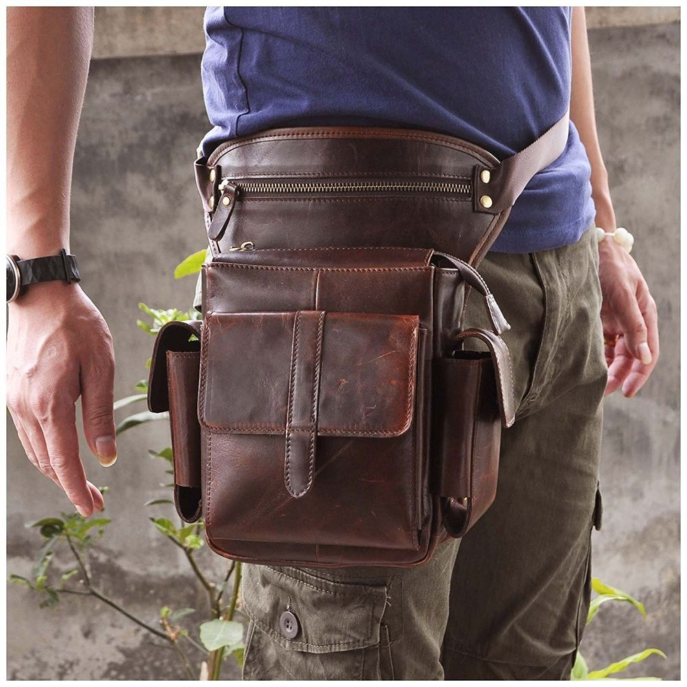 def675d36f93 Leaokuu Mens Genuine Leather Bike Cycling Waist Hip Bum Fanny Pack Drop Leg  Bag