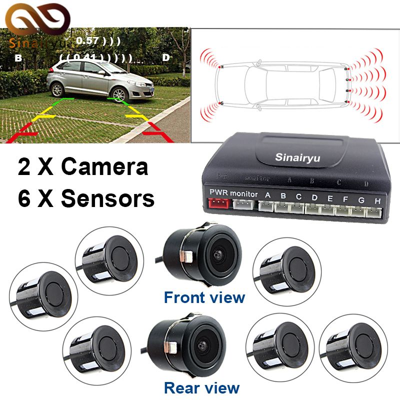 Sinairyu Car Parking Sensor System With 6pcs 22m Sensors 2 Front 4 Rear Support Front And Rear Camera Connecting With Monit Car Electronics Car Parking Sensor