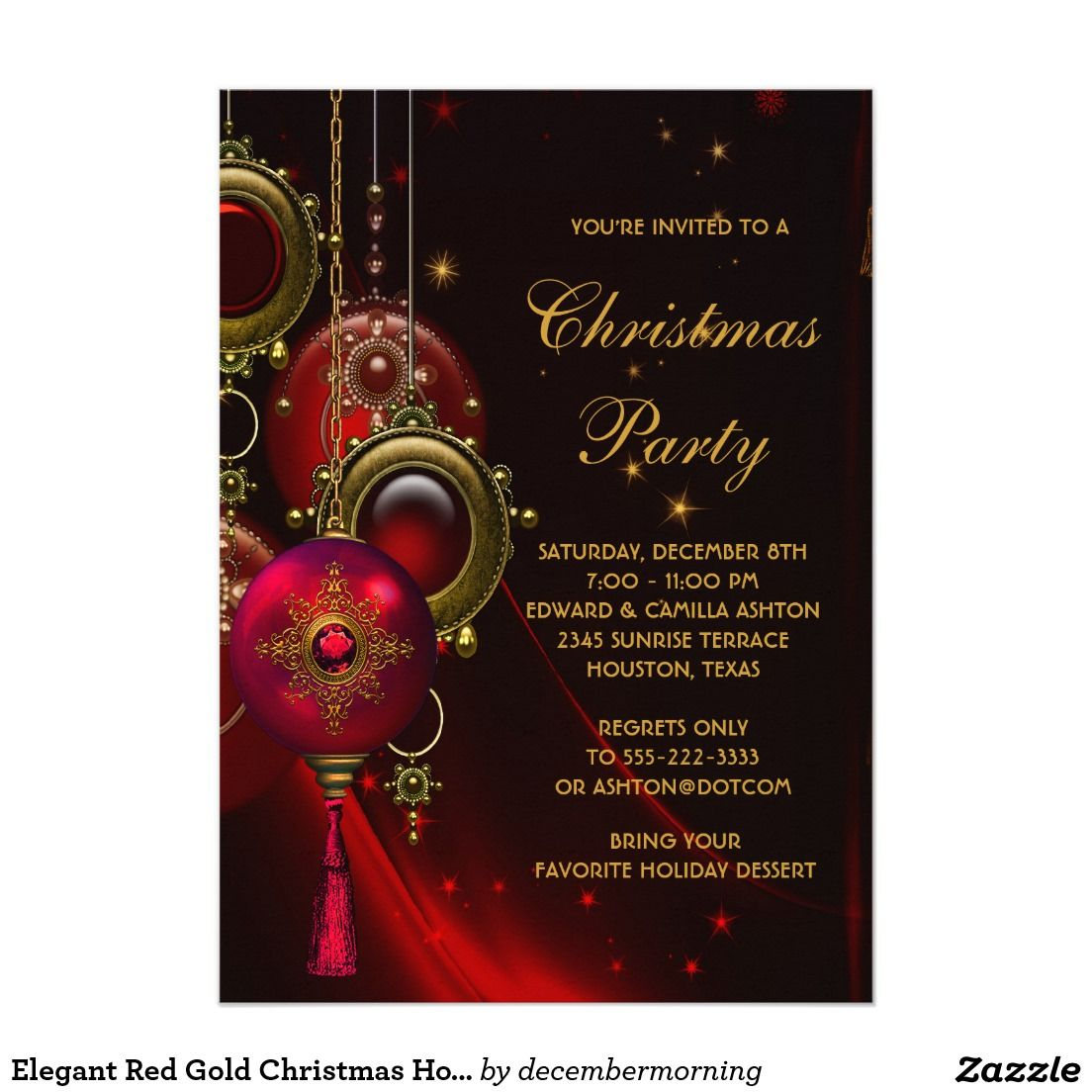 Elegant Red Gold Christmas Holiday Party Card | Christmas Closet ...