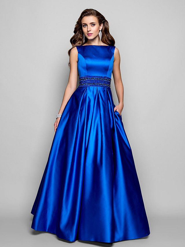 A-Line Boat Neck Floor Length Satin Formal Evening Dress with ...