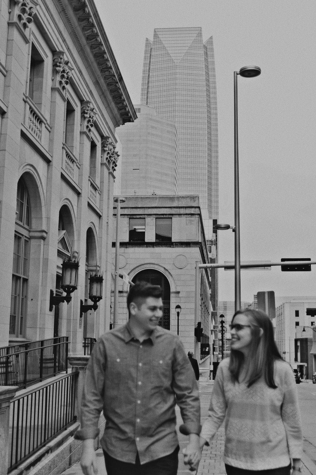 Downtown engagement photos black and white oklahoma city engagement photos classic engagement photos oklahoma photographer california photographer