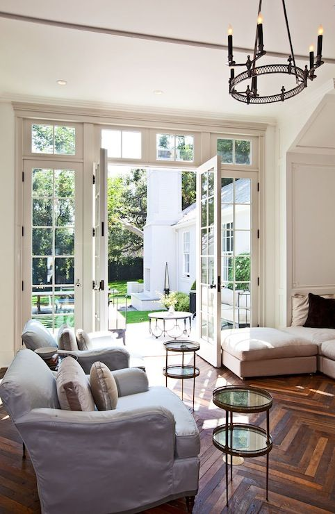 Veranda Living Rooms Room With Black Leather Sofa Ideas Benjamin Moore White Dove Open French Doors Transom Window Lead