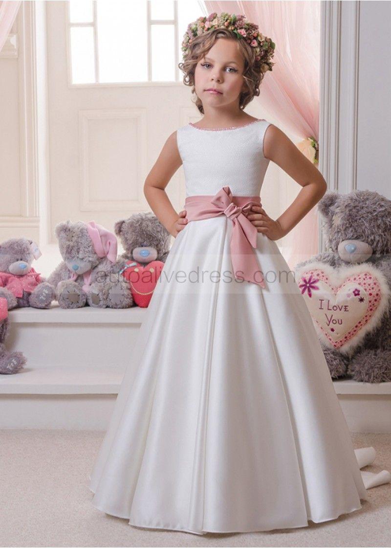 5c3f3df72d46 A Line Beaded Open Back Floor Length Wedding Flower Girl Dress with Open  Back