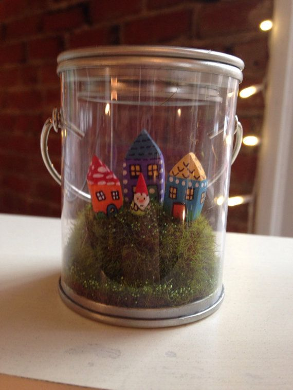 Tiny Garden Gnome City In A Tiny Clear Paint Bucket Christmas Birthday Gift  Terrarium Decor Home Decor Seasonal Decor