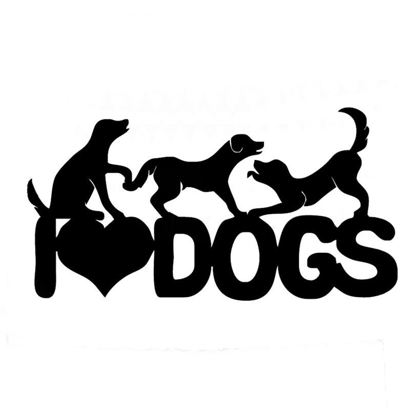 Wholesale 10pcs lot 20pcs lot i love dogs pet vinyl decals lovely playing dogs car sticker truck car bumper de