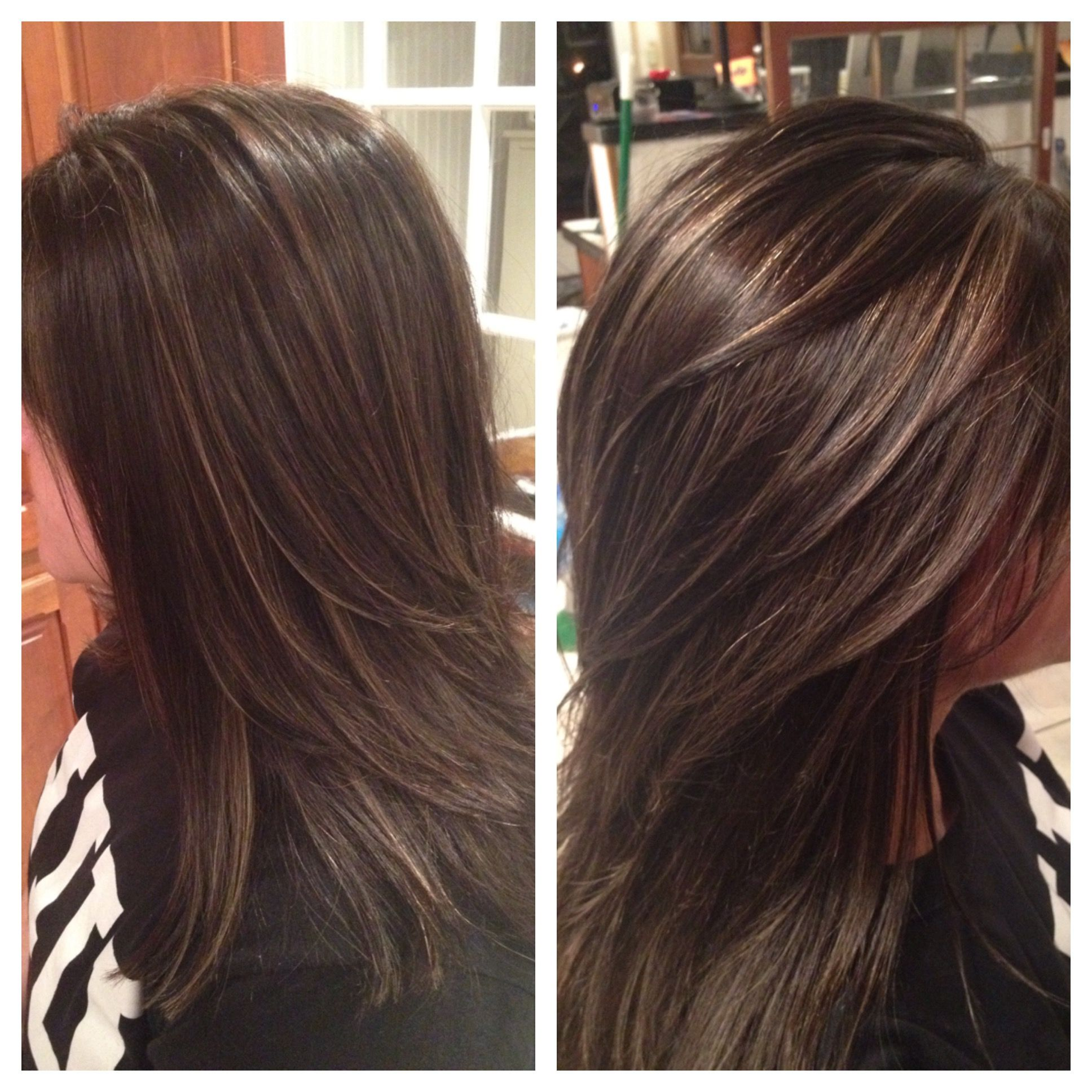 Deep brown with caramel baby lights Hair by Amanda