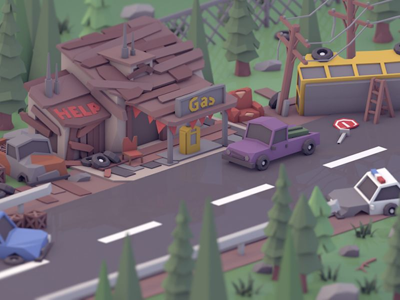 Gas station. in 2020 Gas station, Low poly, Fantasy island