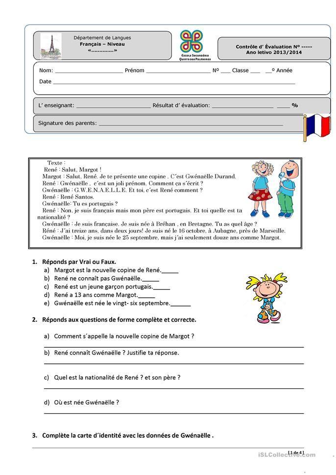 Contrôle niveau 1 | Comment apprendre l'anglais, Exercices de vocabulaire et Compréhension de ...