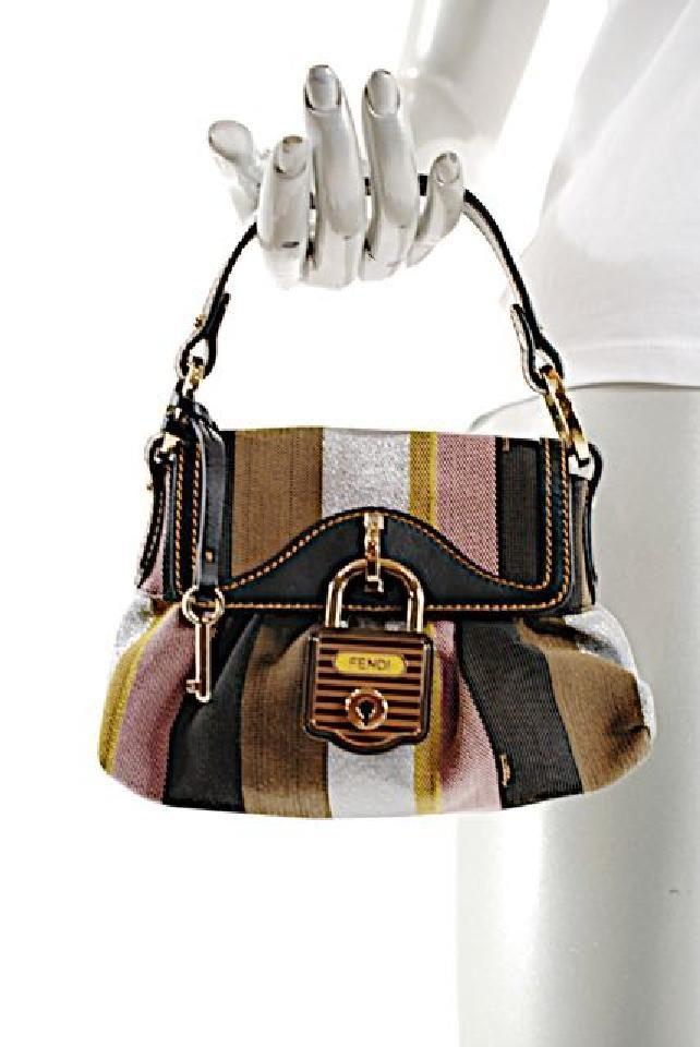 Fendi Handbag Canvas Satchel In Black Gold Brown Multi Color