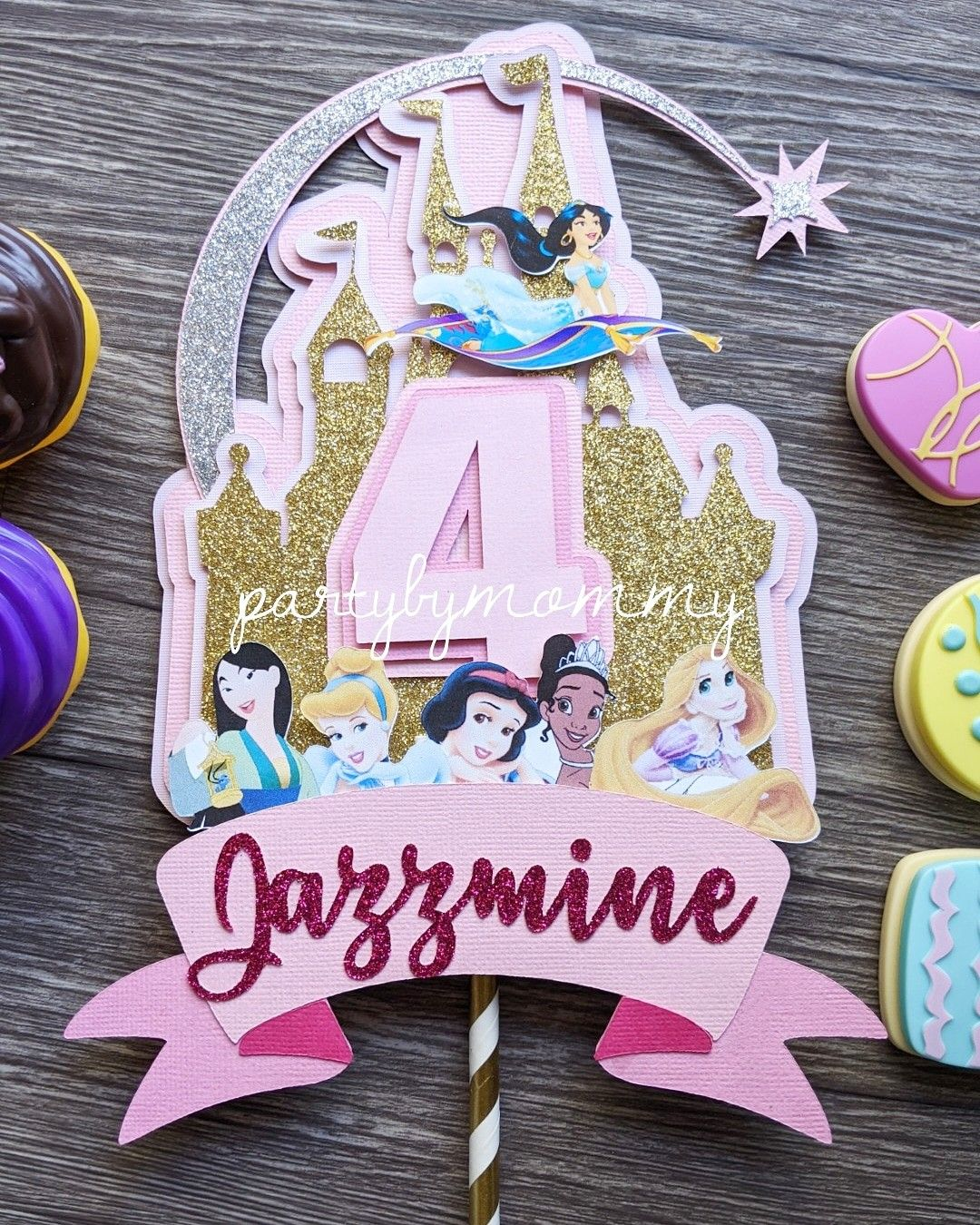 Disney princesses and princes inspired theme cake topper