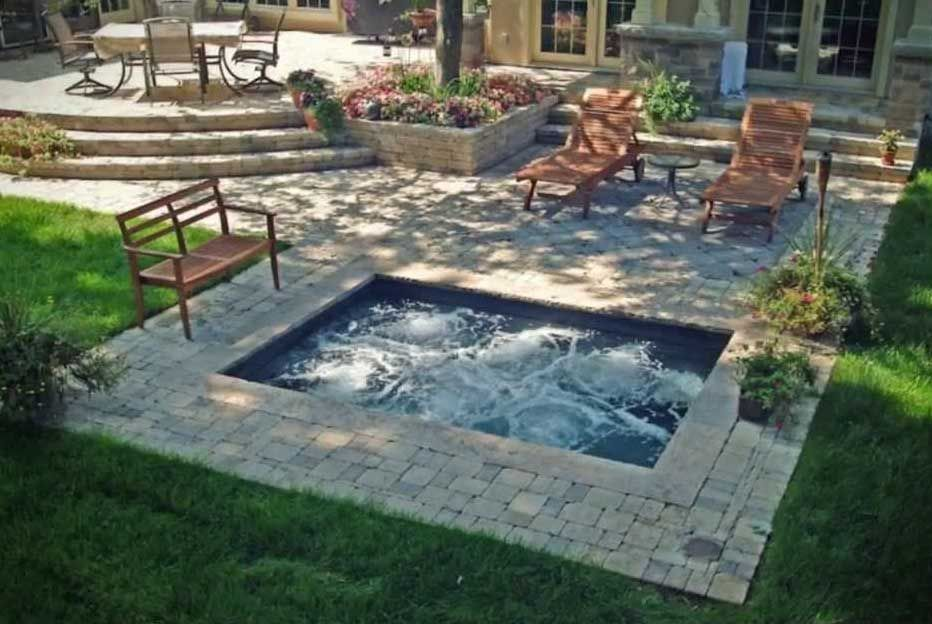 Raised Patio And Plunge Pool Hot Tub Outdoor Jacuzzi Outdoor Hot Tub Backyard