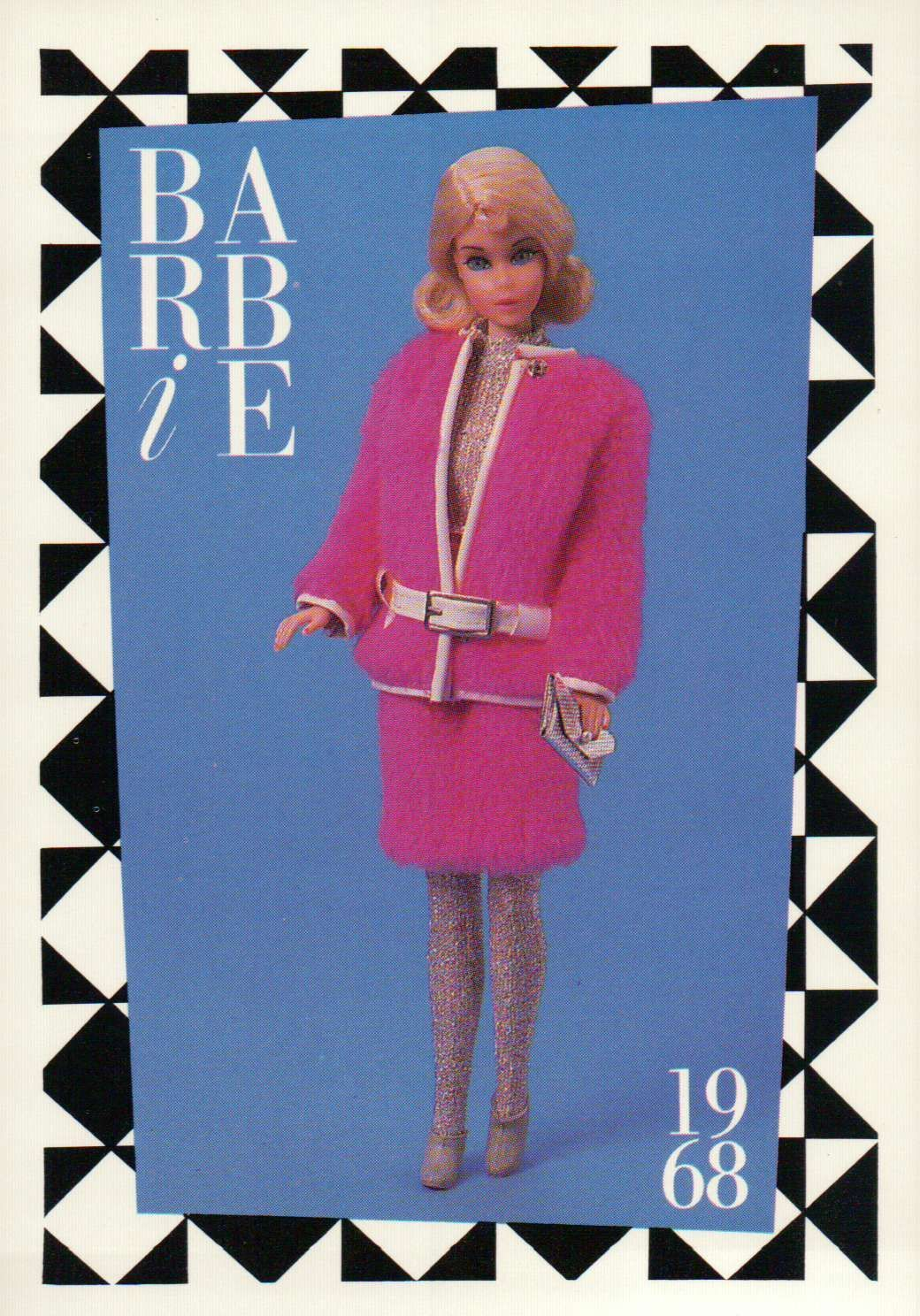 "Barbie Collectible Fashion Trading Card  /"" Snug Fuzz /""  White Belt Leggings 1968"