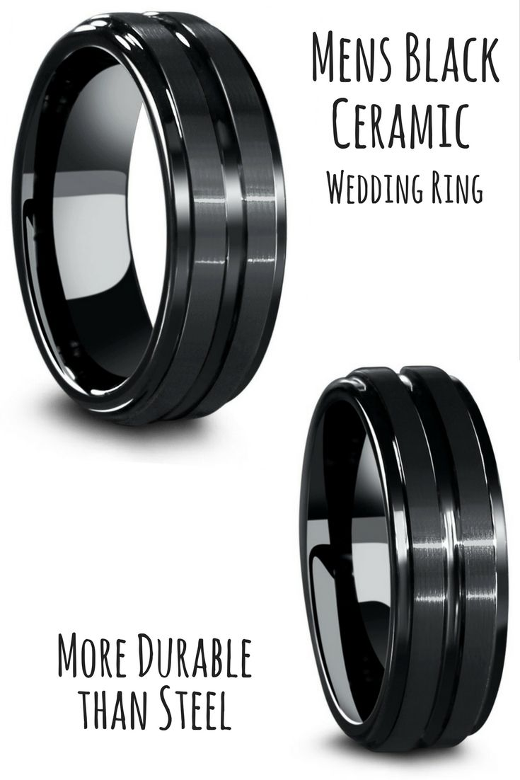 Mens Black Ceramic Ring With Carved Groove And Step Down Edges In