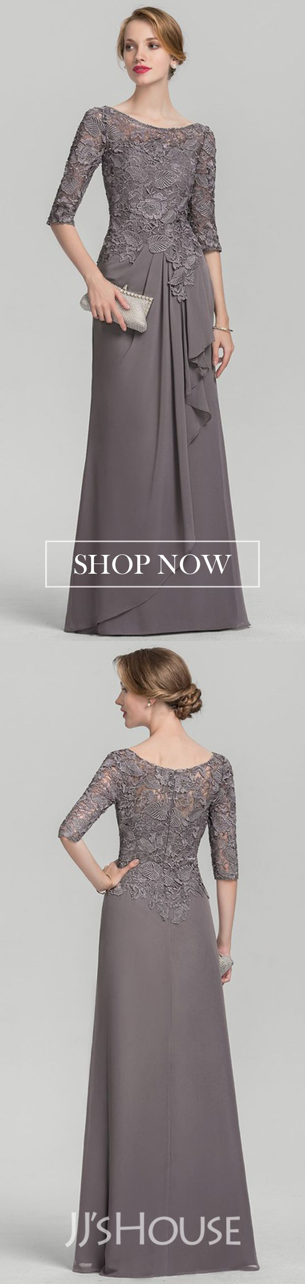 A-Line/Princess Scoop Neck Chiffon Lace Mother of the Bride Dress With Cascading Ruffles #groomdress