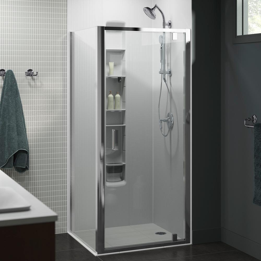 Kohler Aerie 35 8125 In X 75 In Frameless Corner Pivot Shower Door In Bright Polished Silver Shower Doors Bath Fixtures Shower Enclosure