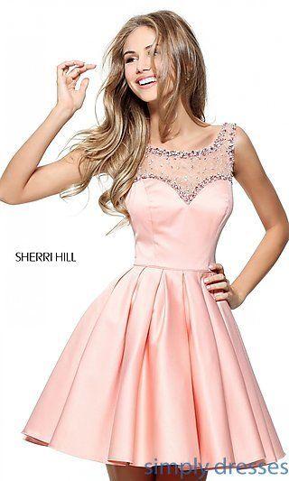 SH-50962 - Sherri Hill Short Prom Dress with Beaded Neckline