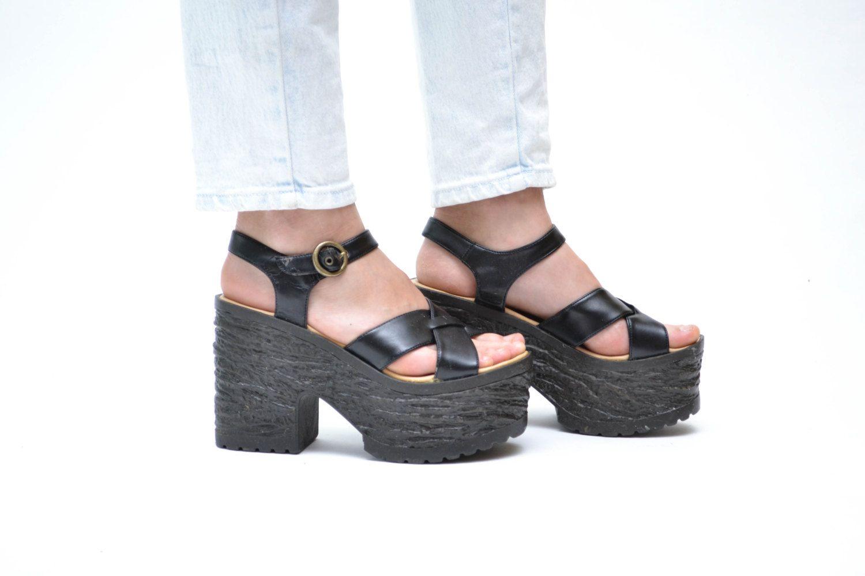 Black sandals grunge - 90s Mega Platform Strappy Sandals Grunge Goth Faux Black Leather Criss Cross Open Toe