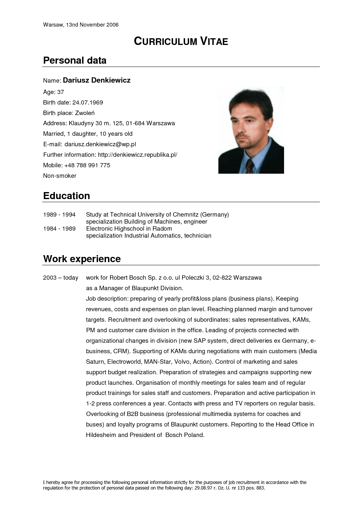 Resume Format For Overseas Job Curriculum Vitae Resume Cv Computer And Auto Control