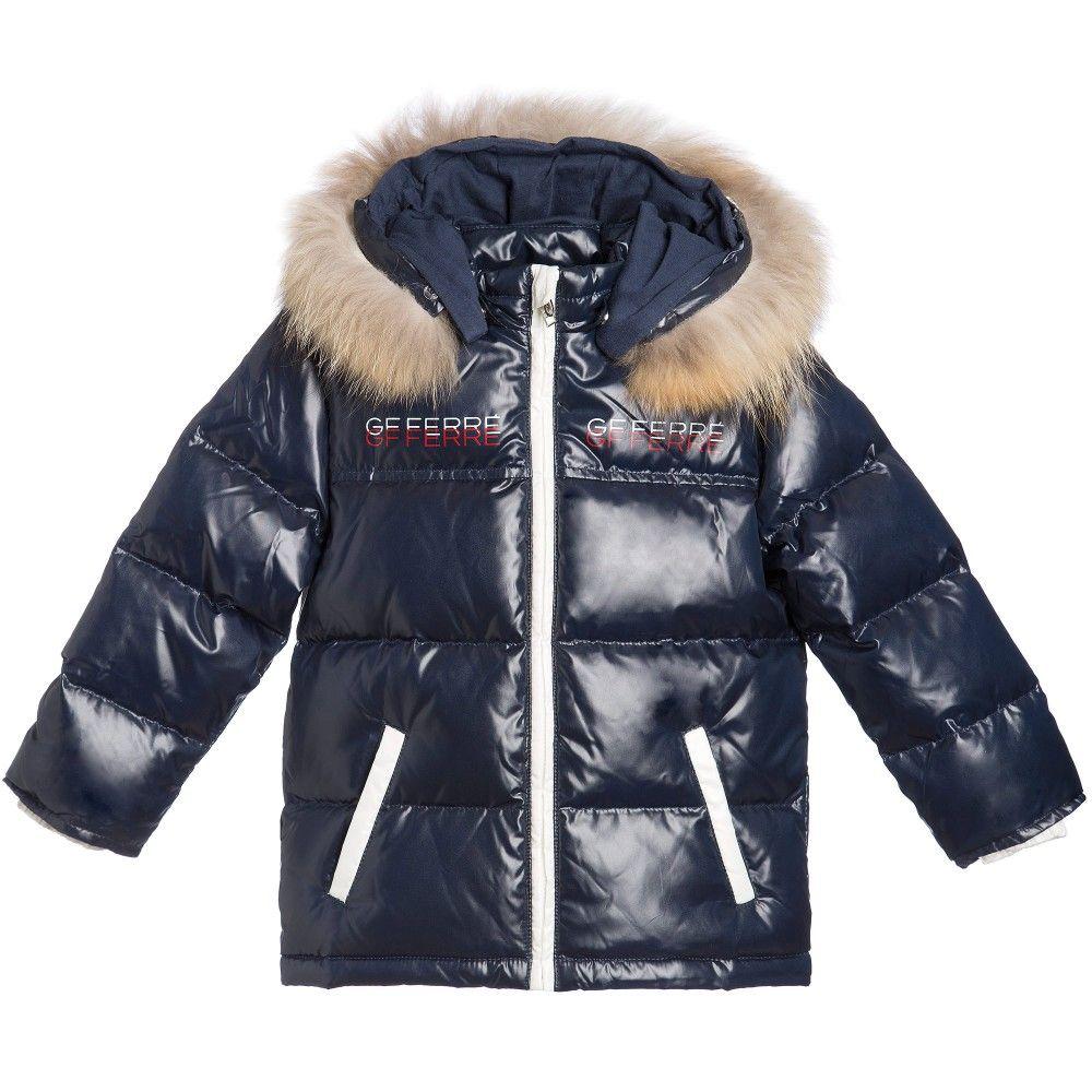 c1a84adad954 Boys Navy Blue Down Padded Coat   Fur Trim