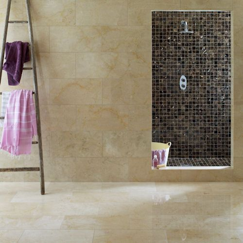 Crema marfil polished marron polished mosaic bathroom for Crema marfil bathroom ideas