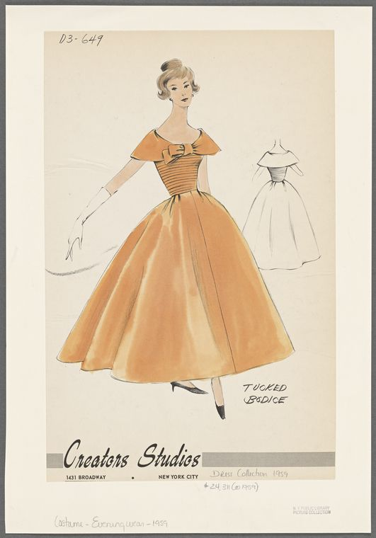 1950s Evening Wear Fashion Sketch From New York Public Library Digital Collections Fashion Sketches Fashion Design Drawings Fashion Design
