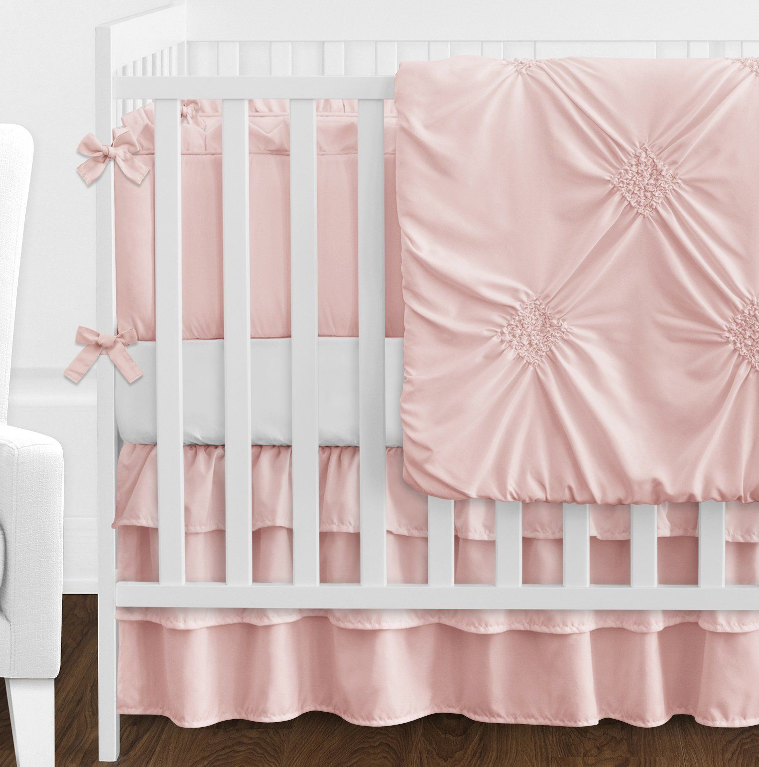 Solid Color Blush Pink Shabby Chic Harper Baby Girl Crib Bedding Set With Bumper By Sweet Jojo Designs 9 Pie Crib Bedding Girl Bed