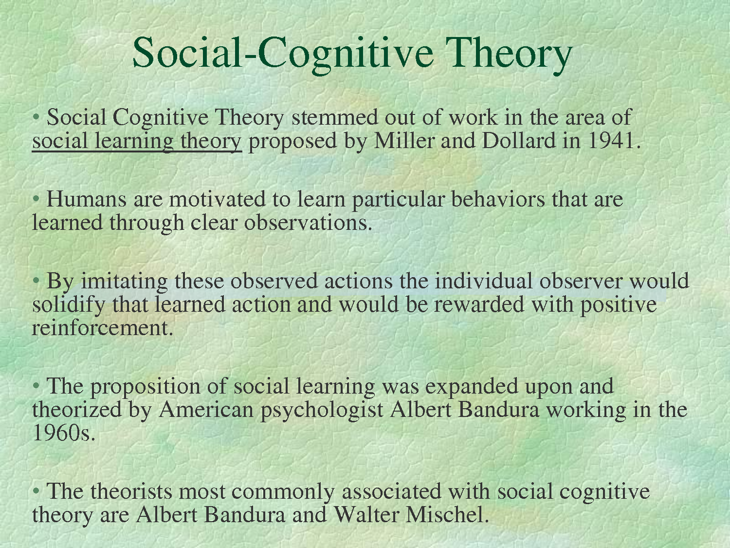 a description of a social learning theory of albert bandura Social learning theory within the classroom : albert bandura's theory encourages educators to model appropriate -albert bandura, social learning theory.