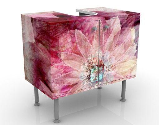 Waschbeckenunterschrank - Grunge Flower - #Blumen #Badschrank Rosa - wandgestaltung im badezimmer