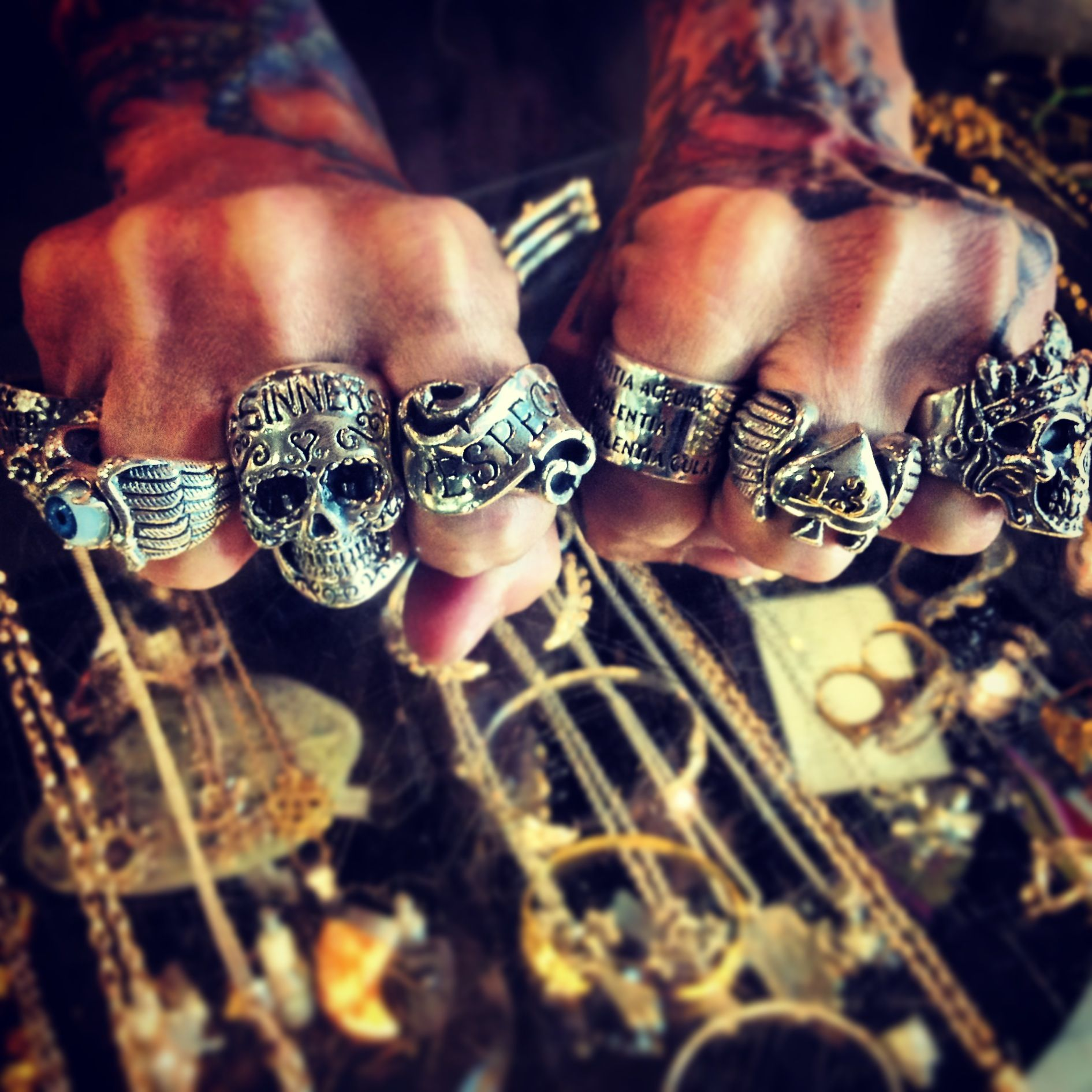 Hand casted sterling Rock and Roll jewelry. www.ForgottenSaintsla.com