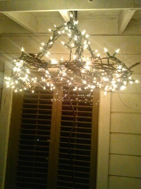 Outdoor Chandelier Using Twigs From My Back Yard And Lights