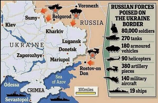 Map showing the location and number of Russian forces poised on the