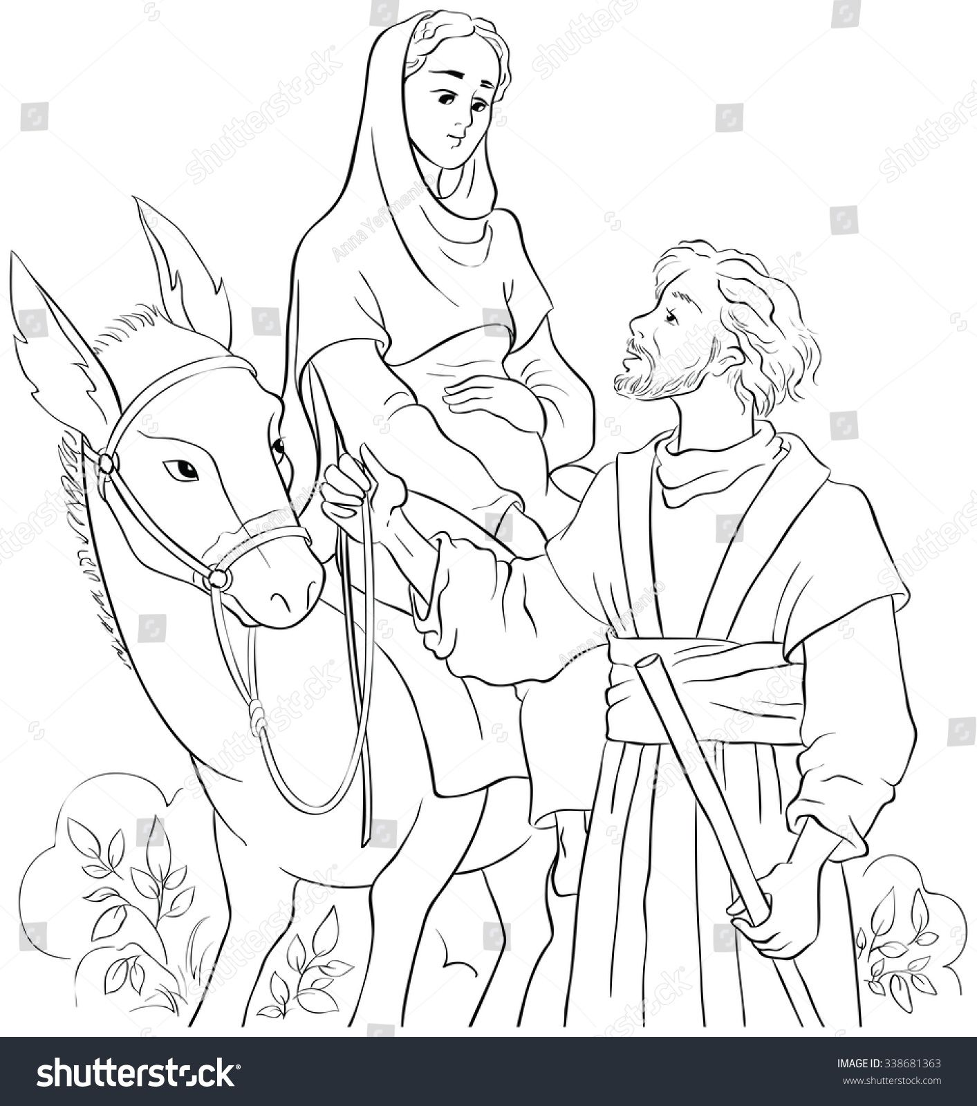 Mary and Joseph travelling by donkey to Bethlehem. Coloring page