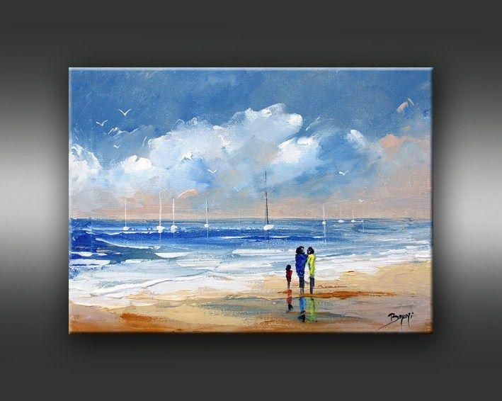 Promenade sur la plage peintures pinterest promenade - Tableaux mer et plage ...