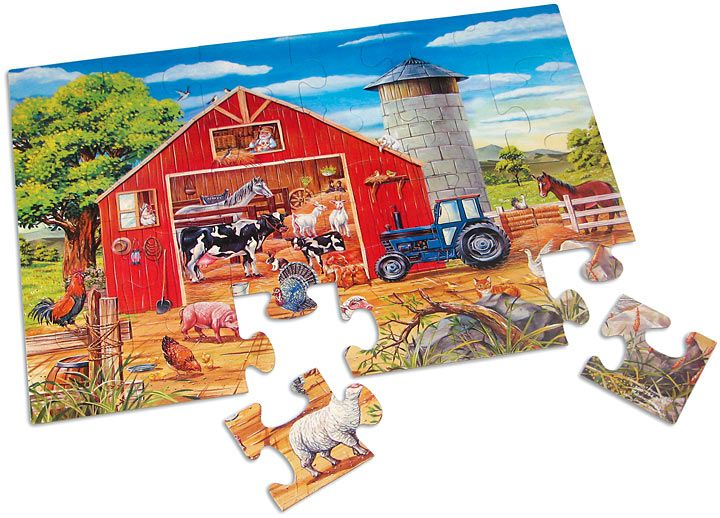 $12.99 Animals in the Barn Floor Puzzle | Animals, Barn ...