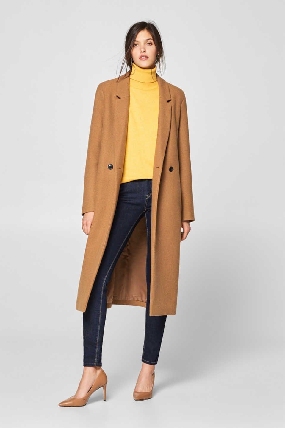 e6aa0100672 En laine mélangée   le manteau long à boutonnage croisé