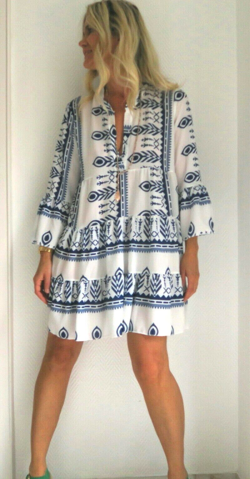 pali ikat navajo print boho tunic dress in BEIGE BLUE ...