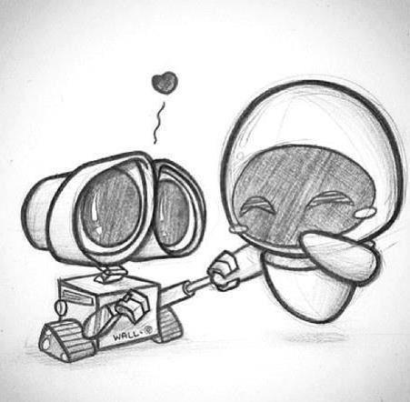 Aww Walle And Eva 3 Dibujos Animados A Lapiz Dibujos De Amor Arte Del Bosquejo